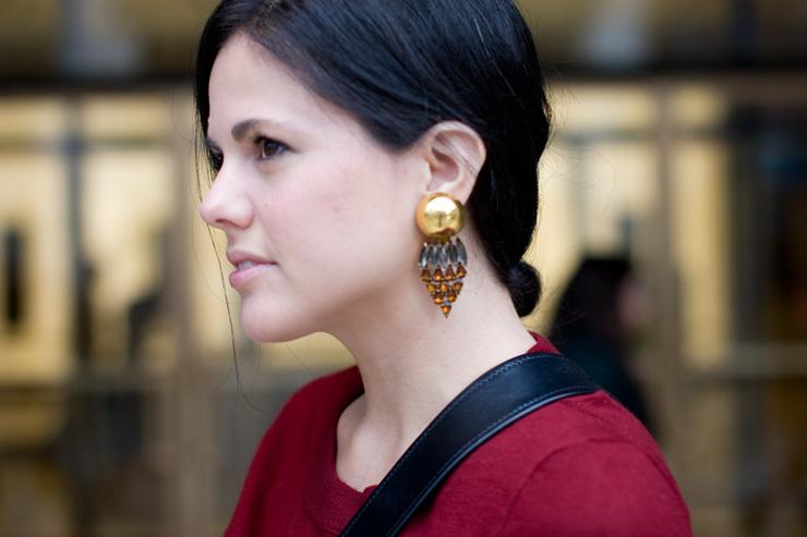 in detail NYFW S13 earrings
