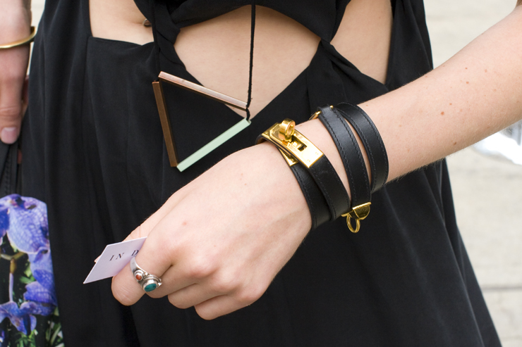 in detail nyfw leather wrap bracelet