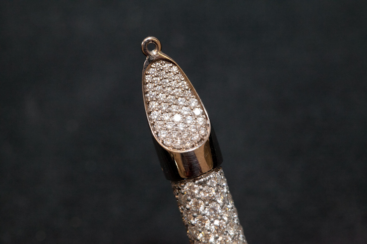 in detail shaun leane bespoke diamond tusk earring