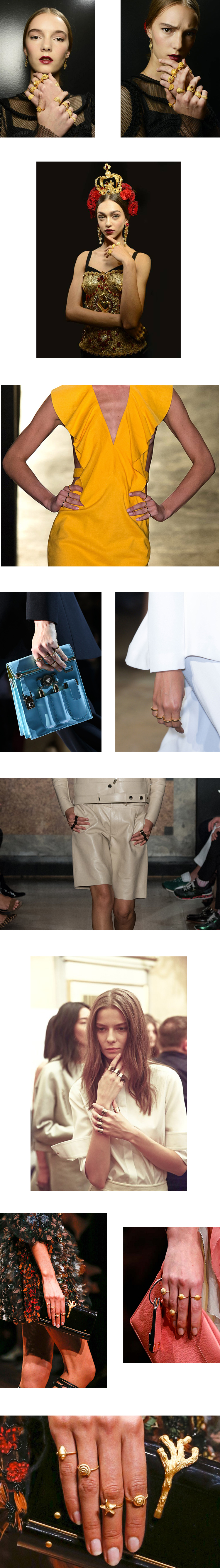 in detail jewellery catwalk trends - rings on every finger